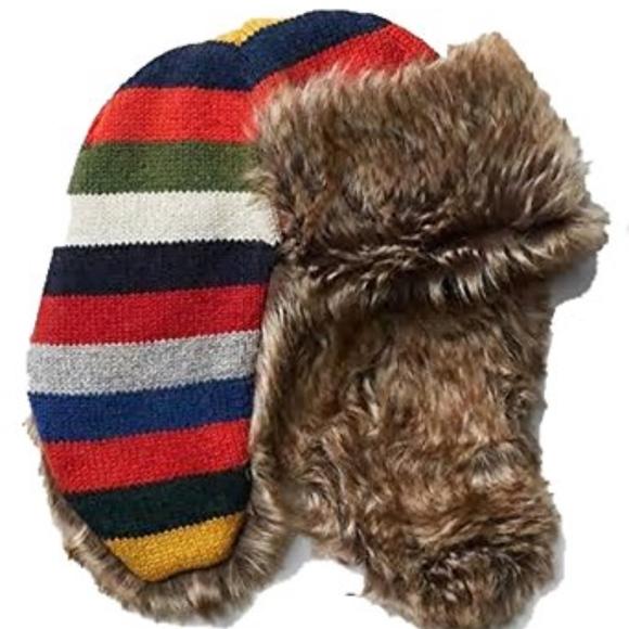 254420c45d0 Crazy Stripe Faux Fur Fleece Lined Trapper Hat